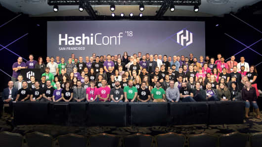HashiCorp employees at the start-up's HashiConf conference in San Francisco in October 2018.