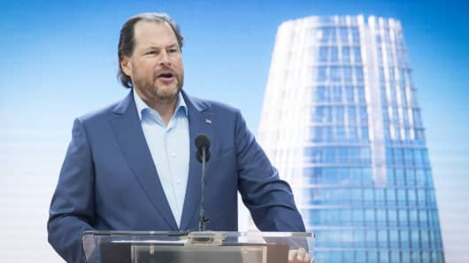 Marc Benioff, chairman and chief executive officer of Salesforce.com Inc., speaks during the grand opening ceremonies for the Salesforce Tower in San Francisco, California, U.S., on Tuesday, May 22, 2018.