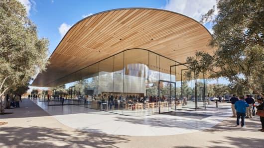 Apple Park Visitors Center in Cupertino, Calif.