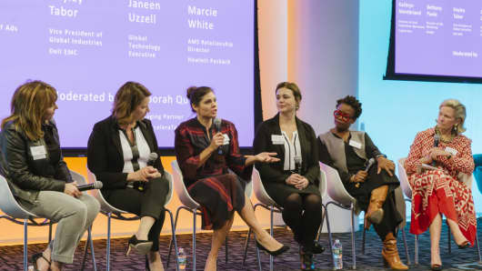 Bethany Poole (center left), director of ads marketing at Google, discussing women in the workplace with other top female corporate leaders at the Galvanize conference in New York City on Oct. 16, 2018.