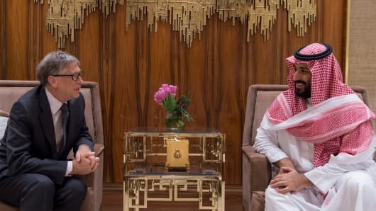 Crown Prince and Defense Minister of Saudi Arabia Mohammad bin Salman (R) meets with Microsoft founder Bill Gates (L) in Riyadh, Saudi Arabia on November 14, 2017.