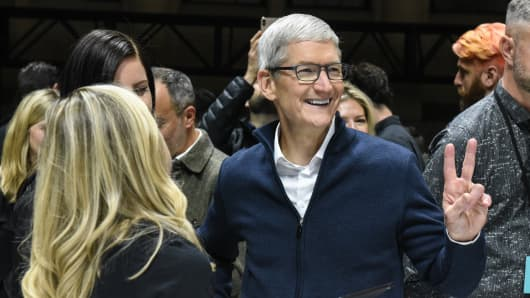 Tim Cook, CEO of Apple unveils new products during a launch event at the Brooklyn Academy of Music on October 30, 2018 in New York City. Apple debuted a new MacBook Air, Mac Mini and iPad Pro.
