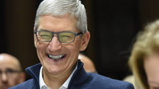 Tim Cook, CEO of Apple, laughs during a launch event unveiling new products at the Brooklyn Academy of Music on October 30, 2018 in the Brooklyn borough of New York City. Apple debuted a new MacBook Pro, Mac Mini and iPad Pro.