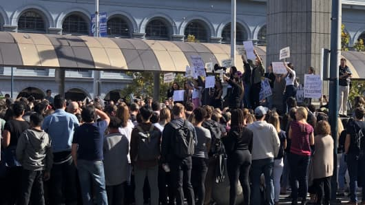 "Google employees walked out of offices in San Francisco and around the globe to protest what organizers describe as ""a workplace culture that's not working for everyone."""