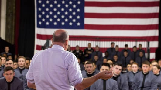 Jim Cramer speaks to an audience of West Point University cadets for Mad Money's 2017 Veterans Day show.