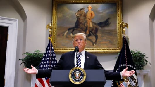 President Donald Trump delivers remarks on immigration and border security in the Roosevelt Room of the White House in Washington, U.S., November 1, 2018.