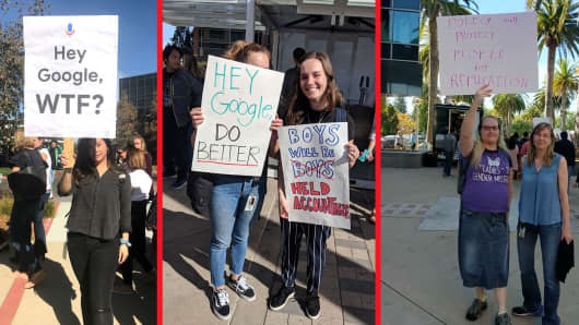 Employees chanted and held signs as they walked around Google's headquarters in Mountain View, California.