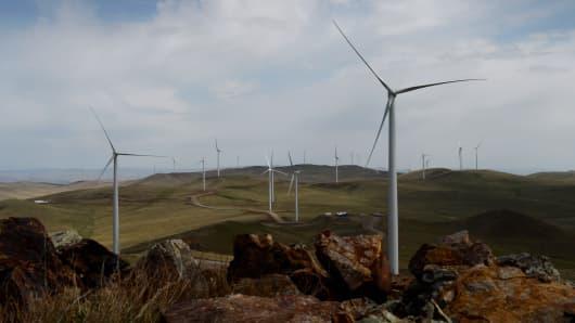This photo taken on June 4, 2013 shows wind turbines at the Salkhit Mountain wind farm, 70 kilometres from Ulan Bator, Mongolia.