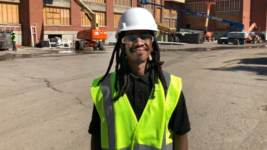Eugene Jowers, 30, says he's had steady work in construction since completing an apprenticeship program in Baltimore two years ago.
