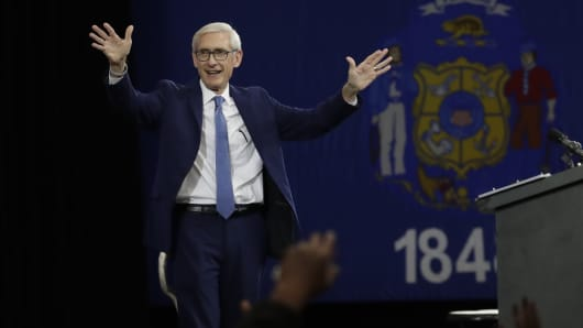 Democratic candidate for governor Tony Evers speaks at a rally Friday, Oct. 26, 2018, in Milwaukee.
