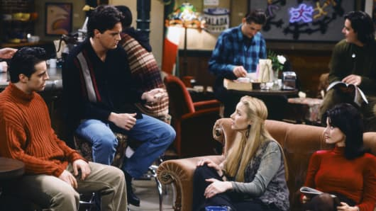 Matt LeBlanc as Joey Tribbiani, Matthew Perry as Chandler Bing, Lisa Kudrow as Phoebe Buffay, Courteney Cox as Monica Geller.
