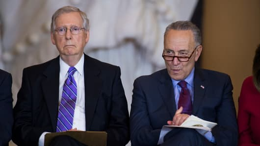 Senate Minority Leader Charles Schumer, D-N.Y., right, and Senate Majority Leader Mitch McConnell, R-Ky.