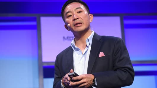Kenneth Lin, founder and CEO of Credit Karma, on stage during day two of MoneyConf 2018.