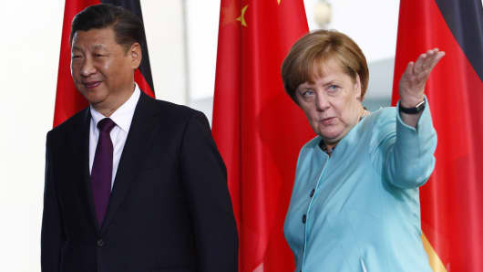 German Chancellor Angela Merkel and Chinese President Xi Jinping.