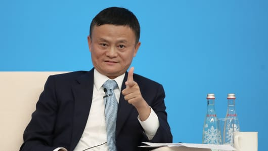 Alibaba Chairman Jack Ma speaking duirng the Hongqiao International Economic and Trade Forum in the China International Import Expo at the National Exhibition and Convention Centre on November 5, 2018 in Shanghai, China.