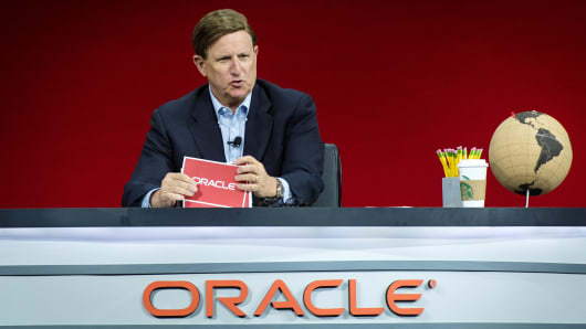 Mark Hurd, co-chief executive officer of Oracle Corp., speaks during the Oracle OpenWorld 2018 conference in San Francisco, California, U.S., on Tuesday, Oct. 23, 2018.