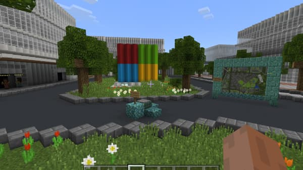 A world in the Minecraft game gives a sense of what new buildings will look like on Microsoft's campus.