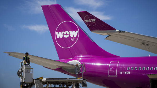 A Wow plane on the tarmac of Roissy-Charles de Gaulle Airport, north of Paris. (