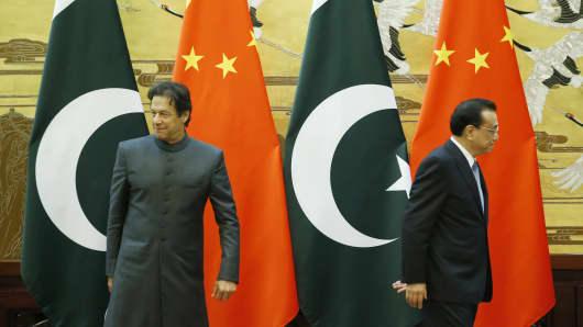 Beijing, November 3, 2018: Pakistani Prime Minister Imran Khan and Chinese Premier Li Keqiang.