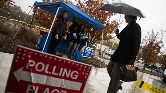 Volunteers with the Democratic party take cover from the rain as they wait to speak to voters outside of a polling station during the mid-term elections at the Fairfax County bus garage in Lorton, Virginia on November 6, 2018.