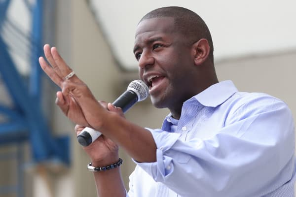 Democratic gubernatorial candidate Andrew Gillum speaks in West Palm Beach, Florida, November 3, 2018.