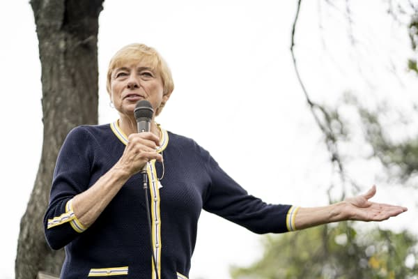 Attorney General and Democratic Gubernatorial candidate Janet Mills speaks during a Democratic picnic in South Portland, Saturday, September 8, 2018.