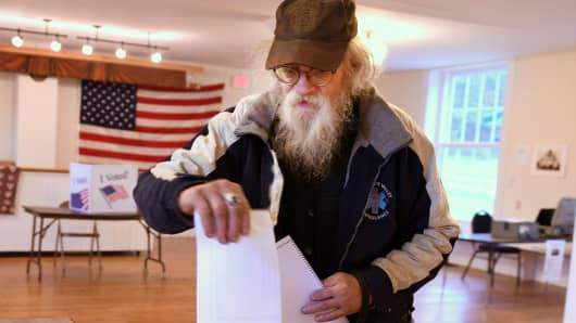 Dave Winborn votes at a polling station  in Granville, Vermont, November 6, 2018.