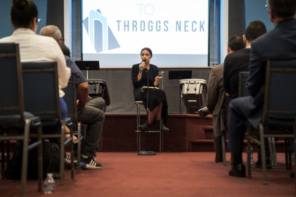 Alexandria Ocasio-Cortez answers questions at a town hall event, September 19, 2018 in The Bronx borough of New York City.