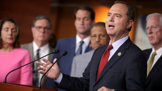 House Intelligence Committee ranking member Rep. Adam Schiff (D-CA) speaks during a news conference with Democratic members of the committee about the Trump-Putin Helsinki summit in the U.S. Capitol Visitors Center July 17, 2018 in Washington, DC.