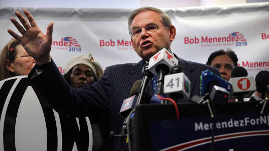 New Jersey Senator Robert Menendez in Hackensack, New Jersey.