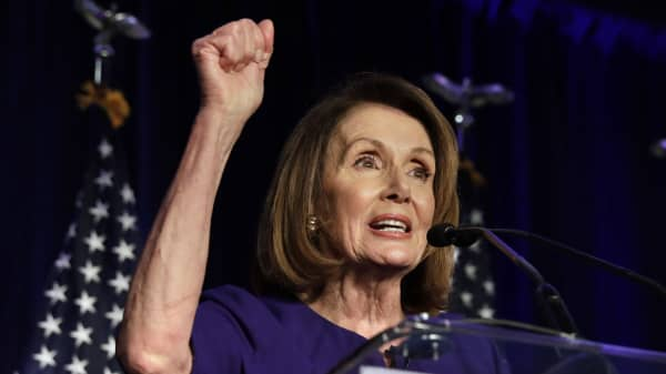 House Minority Leader Nancy Pelosi, a Democrat from California, speaks at a House Democratic election night event in Washington, D.C., U.S., on Tuesday, Nov. 6, 2018.