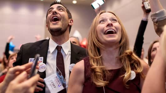 Campaign staff members Cole Robinson (L) and Danielle Hull Robinson react to the projected win for Democratic candidate for Kansas' 3rd Congressional District Sharice Davids during a watch party on November 6, 2018 in Olathe, Kansas. Davids defeated incumbent Republican Kevin Yoder.