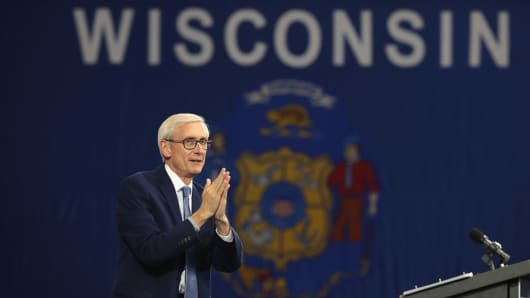 Tony Evers, Democratic candidate for governor of Wisconsin, speaks at a rally in support of  Wisconsin Democrats at North Division High School on October 26, 2018 in Milwaukee, Wisconsin. Former President Barack Obama also spoke at the event.