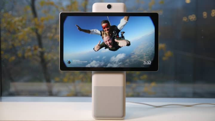 A picture of Todd Haselton skydiving on the Facebook Portal+