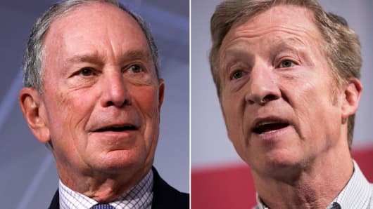 Michael Bloomberg (L) and Tom Styer