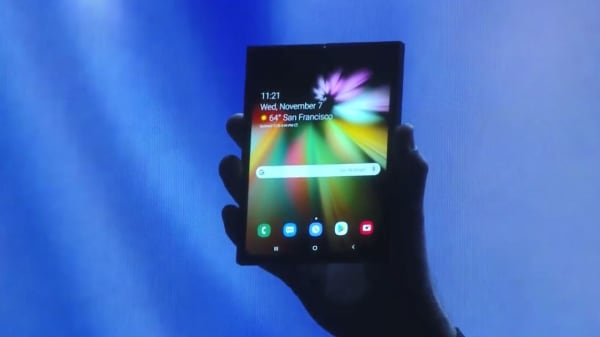 A prototype of Samsung's smartphone with a foldable display.