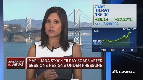 Pot stocks surge after Attorney General Sessions forced out