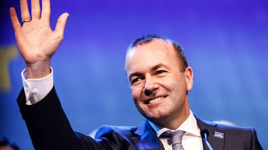 Manfred Weber, German head of the Christian Democrats in the European Parliament, gestures after being selected head of the executive arm of Europes Christian Democrats during the European People's Party congress in Helsinki, Finland, on Thursday, Nov. 8, 2018.