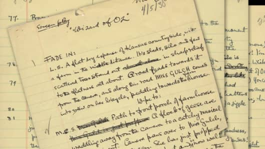 """Original handwritten first draft for the movie """"The Wizard of Oz."""""""