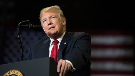 US President Donald Trump speaks at a Make America Great Again rally in Cape Girardeau, Missouri on November 5, 2018.