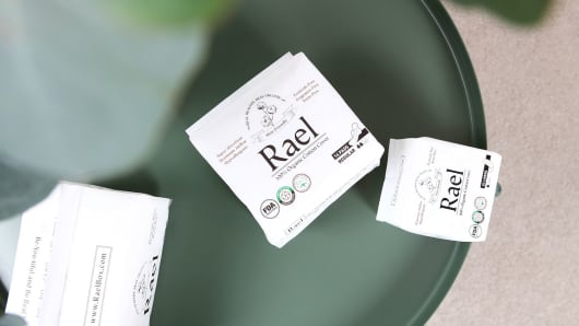 Rael sells period products made from organic cotton and beauty products specifically made for women who are menstruating