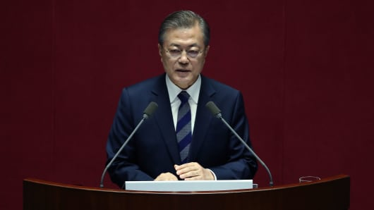 South Korean President Moon Jae-in speaking at the National Assembly on November 1, 2018 in Seoul, South Korea.