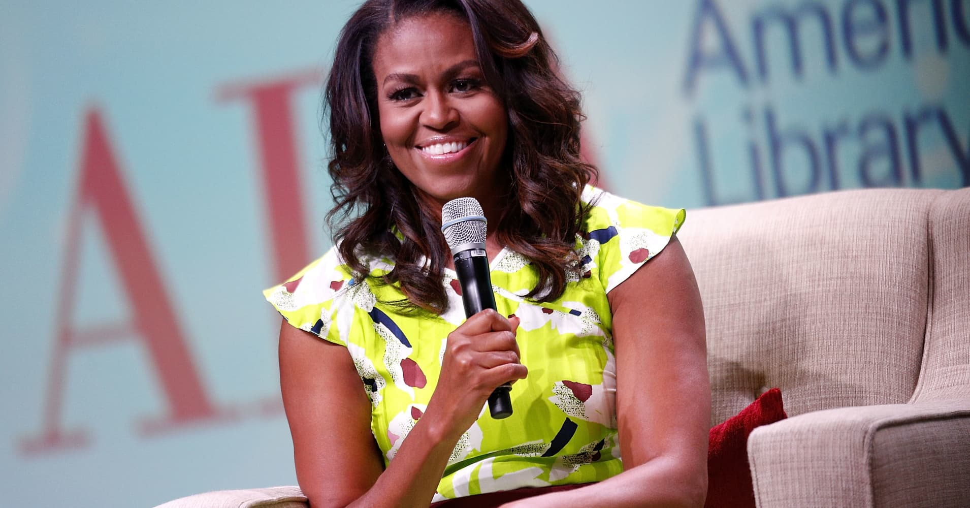 Former U.S. first lady Michelle Obama discusses her forthcoming memoir titled, 'Becoming', during the 2018 American Library Association Annual Conference on June 22, 2018 in New Orleans, Louisiana.
