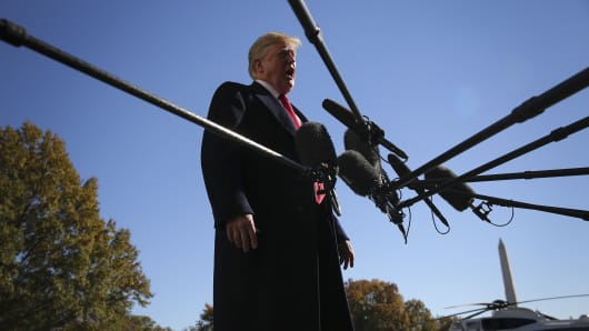 President Donald Trump speaks to members of the media on the South Lawn of the White House in Washington, D.C.