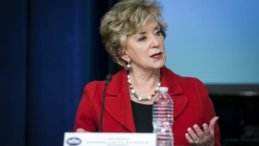Linda McMahon, administrator of the Small Business Administration (SBA), speaks during a 'Conversations with the Women of America' event at the Eisenhower Executive Office Building in Washington, D.C., Jan. 16, 2018.