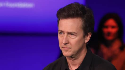 Edward Norton in a panel discussion at the Clinton Global Initiative Annual Meeting, in New York City on September 29, 2015; The panel also included Sean Parker, Chairman, The Parker Foundation and J. Craig Venter, Co-Founder, CEO, and Chairman, Human Logevity, Inc. -