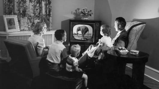 A family watching a television program in which an elephant performs tricks.