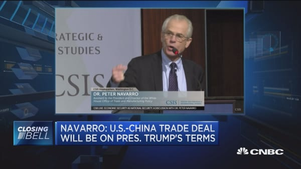Navarro:US-China trade deal will be on President Trump's terms