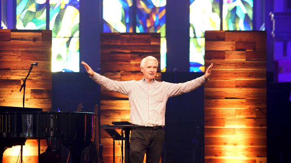 Menlo Church Senior Pastor John Ortberg delivers a sermon. Menlo has a congregation of 6,000 across six campuses.