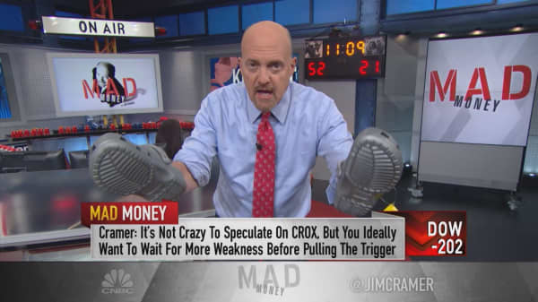 Cramer: I wouldn't buy risky Crocs stock, but it deserves credit for turnaround
